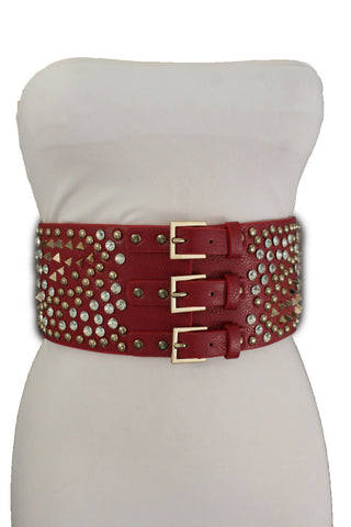 Red Brown Black Elastic Wide Corset Spike Stud Bead 3 Buckles Women Accessories S M