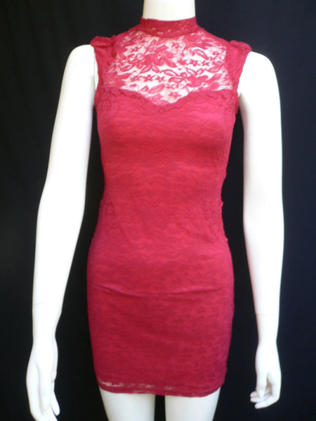Red Flowers Lace Classic Mini Cocktail Dress Sleeveless Elegant Events New Women Fashion Size  XS-L