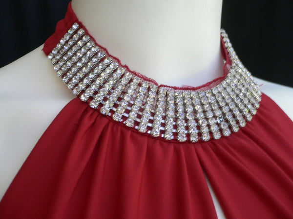Red Sexy Classic Mini Cocktail Dress Sleeveless Halter Rhinestones Neck Elegant Events Women M-L