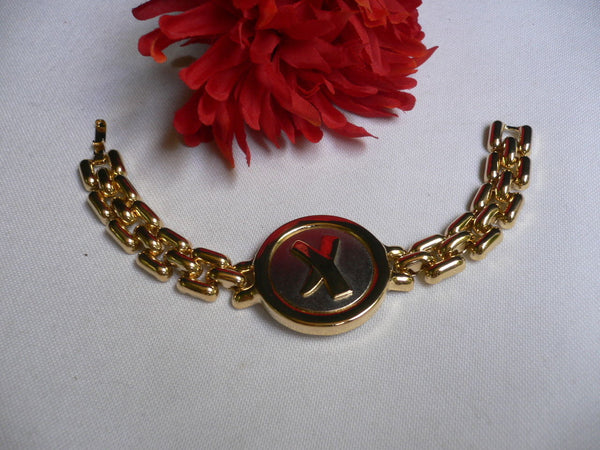 Gold Metal Shield Chains X Circle 80' Style Retro Bracelet New Women Men Fashion Jewelry Accessories - alwaystyle4you - 4