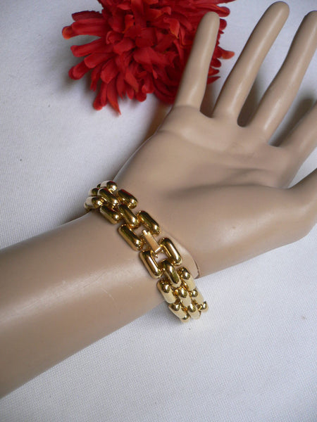 Gold Metal Shield Chains X Circle 80' Style Retro Bracelet New Women Men Fashion Jewelry Accessories - alwaystyle4you - 8
