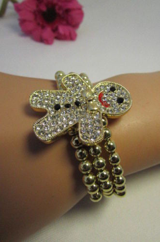 Gold Metal Chains Beads Bracelet Rhinestones Gingerbread Man New Women Fashion Jewelry Accessories - alwaystyle4you - 1