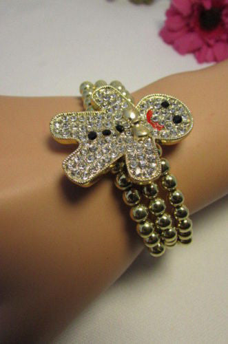 Gold Metal Chains Beads Bracelet Rhinestones Gingerbread Man New Women Fashion Jewelry Accessories - alwaystyle4you - 12