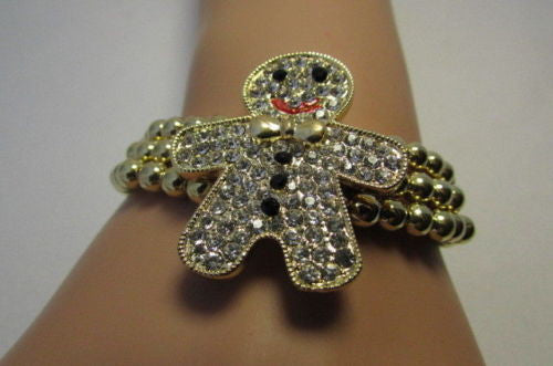 Gold Metal Chains Beads Bracelet Rhinestones Gingerbread Man New Women Fashion Jewelry Accessories - alwaystyle4you - 2