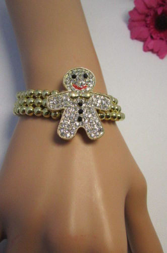 Gold Metal Chains Beads Bracelet Rhinestones Gingerbread Man New Women Fashion Jewelry Accessories - alwaystyle4you - 3