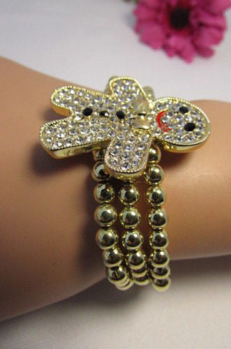 Gold Metal Chains Beads Bracelet Rhinestones Gingerbread Man New Women Fashion Jewelry Accessories - alwaystyle4you - 7