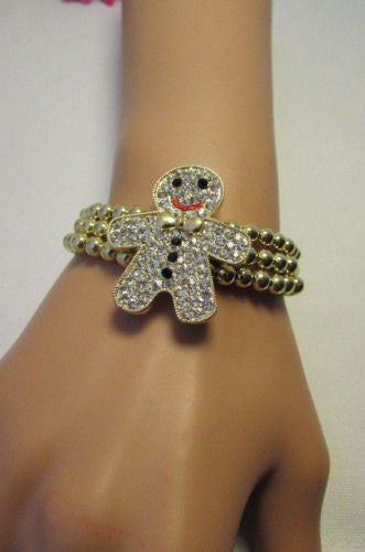 Gold Metal Chains Beads Bracelet Rhinestones Gingerbread Man New Women Accessories