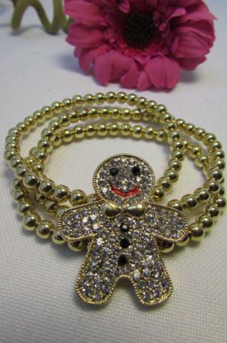 Gold Metal Chains Beads Bracelet Rhinestones Gingerbread Man New Women Fashion Jewelry Accessories - alwaystyle4you - 10