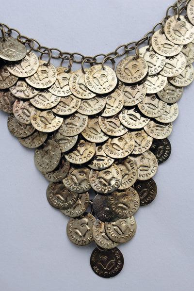Rusty Antique Gold Metal Chains Coins Necklace New Women Fashion Jewelry Accessories