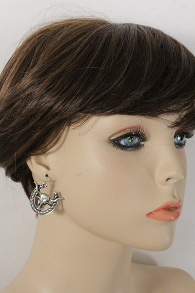 Rusty Silver Metal Long Horn Texas Cow Bull Rodeo Earrings Set New Women Fashion Accessories