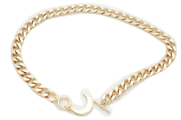 New Women Sexy Fashion Jewelry Gold Metal Chain Link Short Necklace Choker Crescent Moon