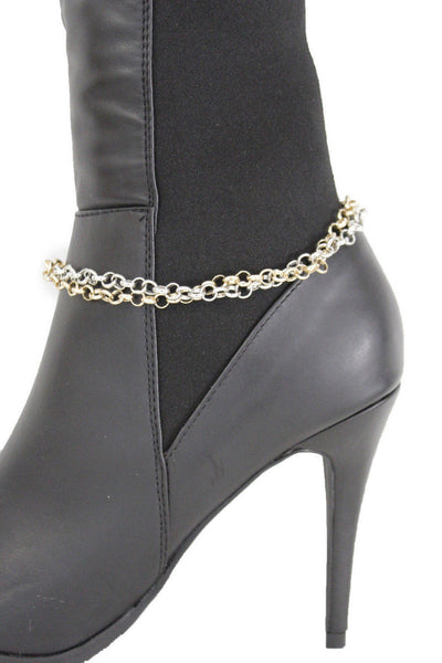 Silver Gold Metal Chain Boot Bracelet Shoe Bling New Women Western Fashion Accessories