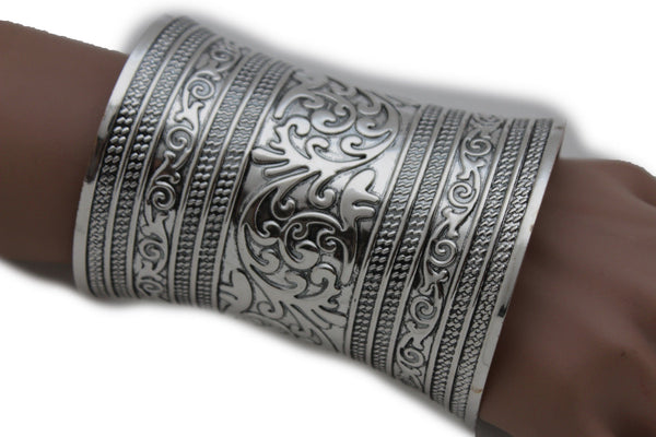 Shiny Silver Long Wide Metal Cuff Bracelet Wrist Moroccan Leaves Style New Women Fashion Accessories