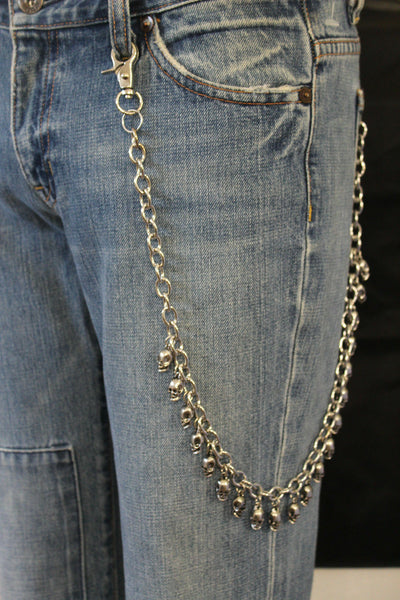Silver Wallet Chain Key Chain Mini Skull Metal Skeleton Biker Jean Trucker Men Accessories