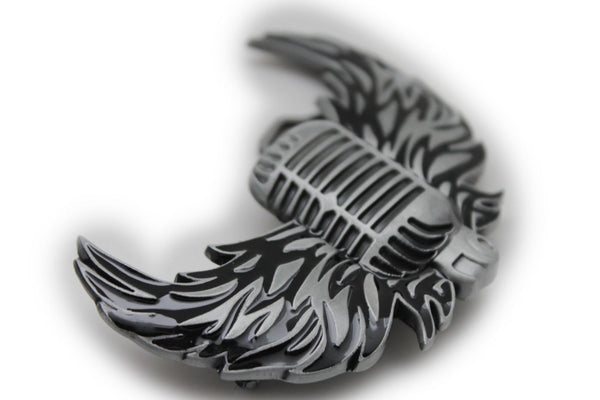 Silver Metal Radio Music Microphone Fire Wings Belt Buckle Men Women Fashion Accessories