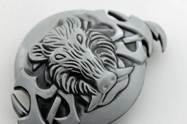 Silver Black Animal Wild Pig Boar Tusks Head Hunters Unique Belt Buckle New Men Women Accessories