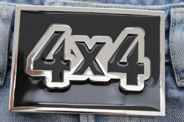Silver Black Large Square Big Sing 4X4 Western Hip Hop Belt Buckle New Men Women Accessories