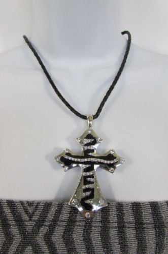 Silver Black Metal Long Big Zebra Cross Rhinestones Necklace New Women Fashion Accessories