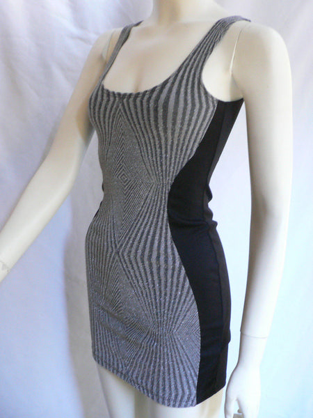 Silver Black Multi Stripes Sexy Above Knee Mini Cocktail Sleevless Short Dress Women Size XS- L