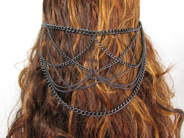 Silver Black Waves Metal Head Chain Hair Piece Pins Claws Grecian New Women Accessories