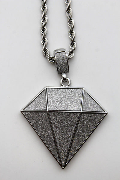 Men Fashion Silver Chain Long Necklace Big Diamond Pendant Hip Hop Style