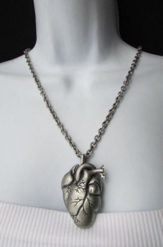Silver chains metal human heart red stones pendant necklace new men silver chains metal human heart red stones pendant necklace new men women fashion accessories mozeypictures Choice Image