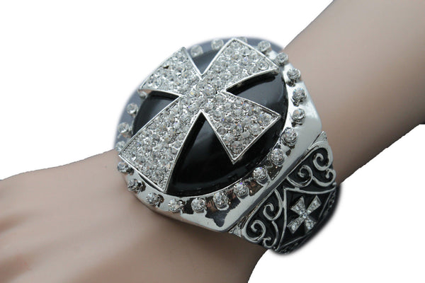 Silver Elastic Metal Round Bracelet Big Cross Rhinestones Church Style Religious Women Accessories