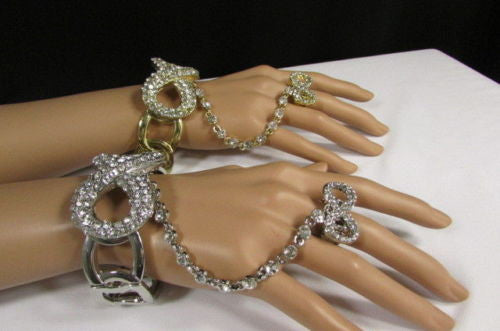 Silver Hand Chain Bracelet Slave Ring Multi Rhinestone Infinity Symbol New Women Accessories