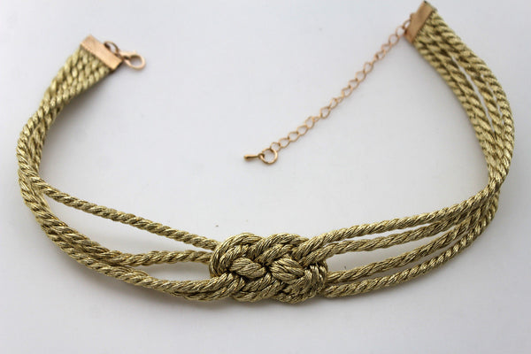 Silver Gold Luxury Short Choker Necklace Multi Strings Strand Infinity Knot Fashion Accessories