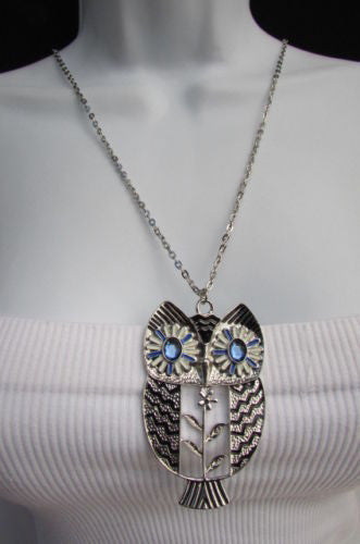"Silver Gold Metal 17"" Extra Long Drop Classic Necklace Big Owl Rhinestones Pendant New Women Fashion Accessories"
