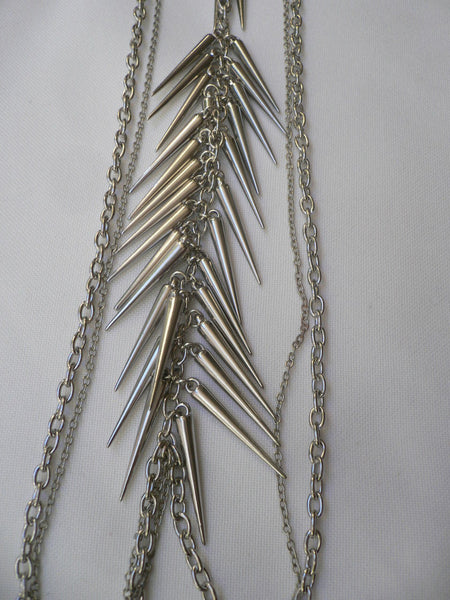 Silver Gold Metal Body Chain Long Spikes Special Necklace New Women Fashion Trendy Accessories
