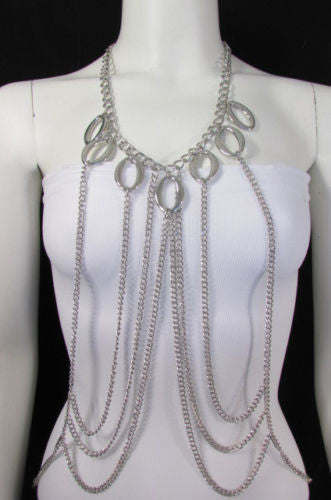 Silver Gold Metal Body Chain Neck Drops Front Waves New Women Fashion Jewelry Accessories