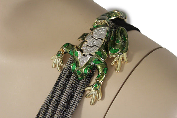 Silver Metal Body Jewelry Animal Broach Shoulder One Side Green Frog Pin New Women Fashion Accessories