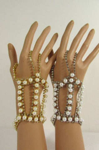 Silver Gold Metal Bracelet Hand Chain Slave Ring Multi Imitation Pearl Beads New Women Accessories