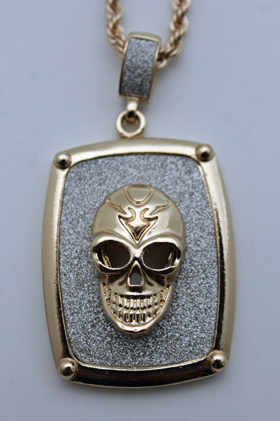 Silver Gold Metal Chain Big 3D Skeleton Skull Pendant Long Necklace New Men Fashion Accessories