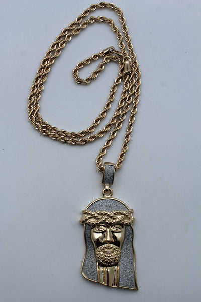 Silver Gold Metal Chain Long Necklace Big Jesus Christ Cross Pendant New Men Fashion Accessories