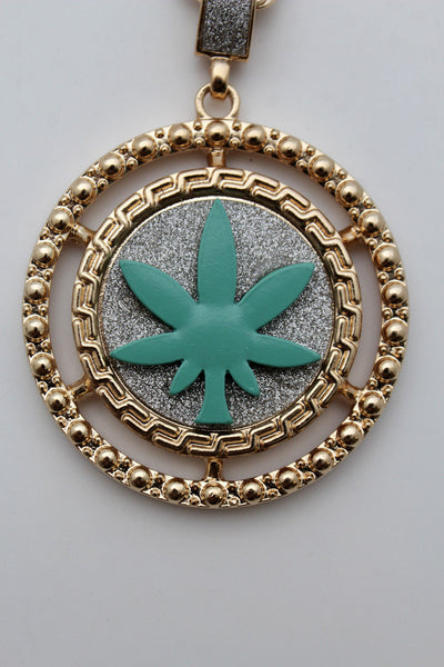 Silver Gold Metal Chains Long Necklace Weed Leaf Marijuana Pendant New Men Fashion Accessories