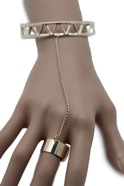 Silver Gold Metal Hand Chain Slave Ring Wrist Bracelet Narrow Geometric New Women Fashion Accessories