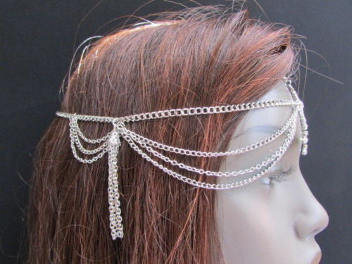 Silver Gold Metal Head Band Forehead Big Square Multi Rhinestones Multi Drapes Hair Accessories