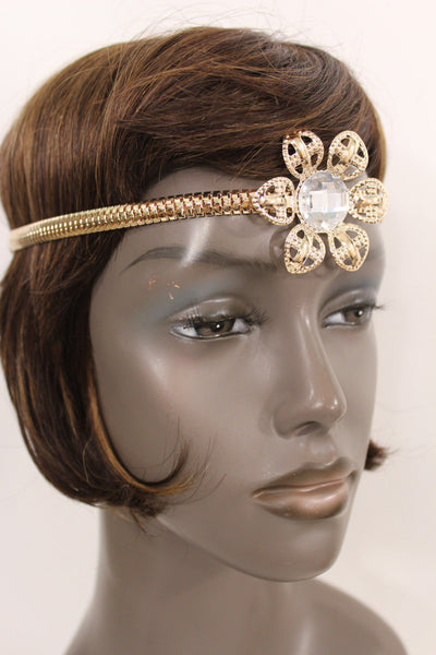 Silver Gold Metal Head Chain Big Flower Forehead Black Elastic Women Hair Wedding Accessories