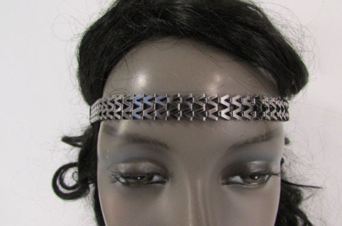 Silver Gold Metal Head Chain Links Forehead Black Elastic Band Women Fashion Jewelry Hair Accessories