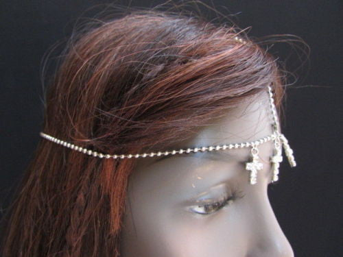Silver Gold Metal Head Chain Multi Cross Rhinestones Wave Women Fashion Hair Piece Jewelry Accessories
