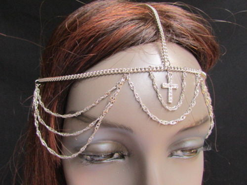 Silver Gold Metal Head Chain Multi Wave Hair Piece Cross Rhinestone New Women Accessories