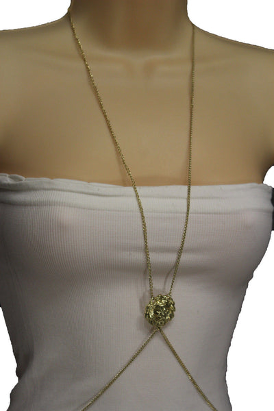 Gold Metal Full Body Chains Necklace Jewelry Sexy Bikini Beach Lion Head Charm New Women