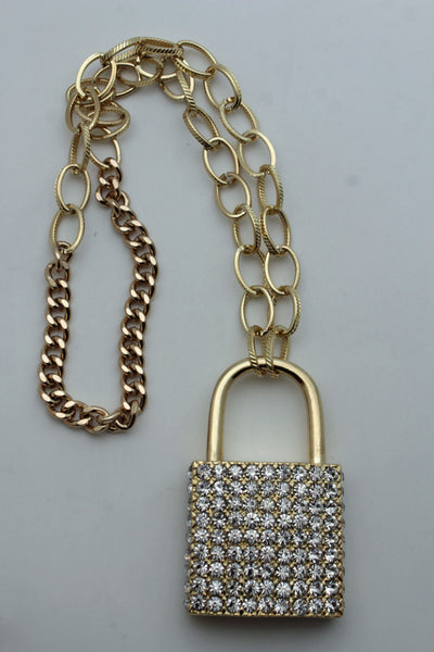 Silver Gold Metal Long Chains Necklace Big Lock Pendant Hip Hop Cool New Men Fashion Accessories