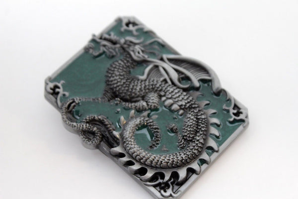 Silver Green Metal Square Long Chinese Dragon Belt Buckle Western New Men Women Accessories