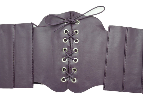 Silver Gunmetal Red Purple Faux Leather Wide Sexy Corset Belt Hip High Waist Women Accessories M XL