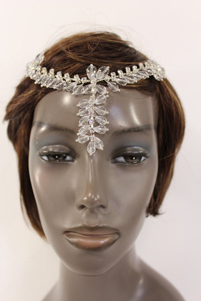 Silver Head Hair Pin Clips Big Beads Forehead Grecian Long Rhinestones Strand Women Accessories