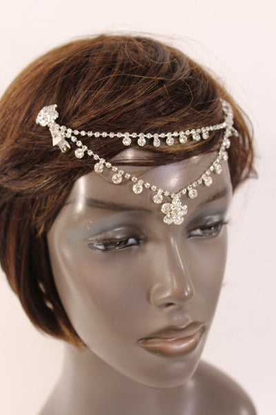 Silver Head Metal Chains Flower Beads Forehead Braids New Women Jewelry Hair Wedding Accessories