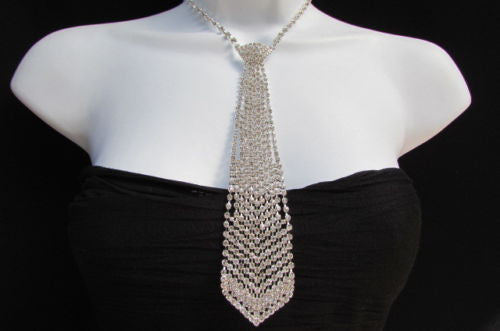 Silver Long Neck Tie Multi Rhinestones Necklace Earring Set New Women Fashion Accessories